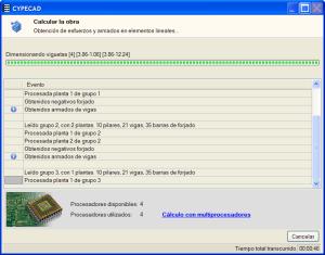 CYPECAD - Cálculo con multiprocesadores. Pulse para ampliar imagen